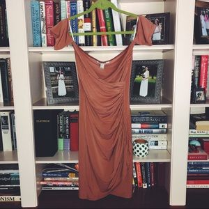 Taupe off the shoulder dress